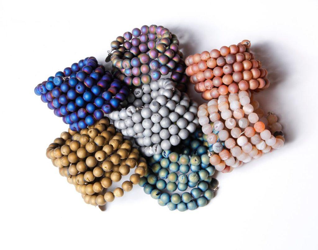 Druzy bracelets by Monica Mauro.