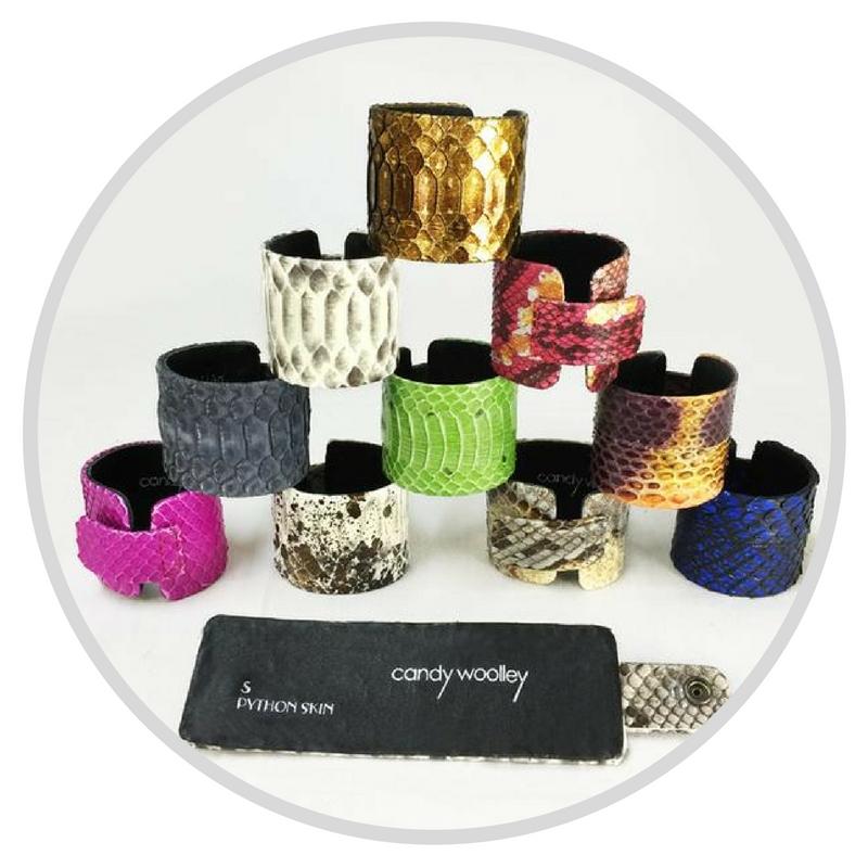 Python skin cuffs by Candy Woolley