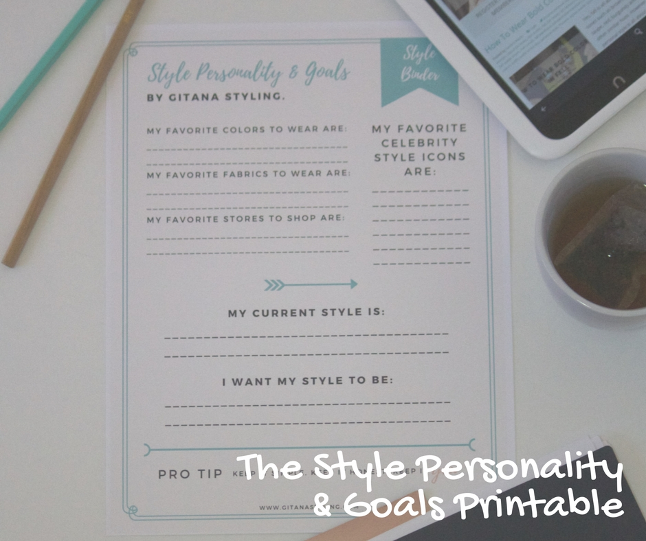 style personality and goals Style Binder