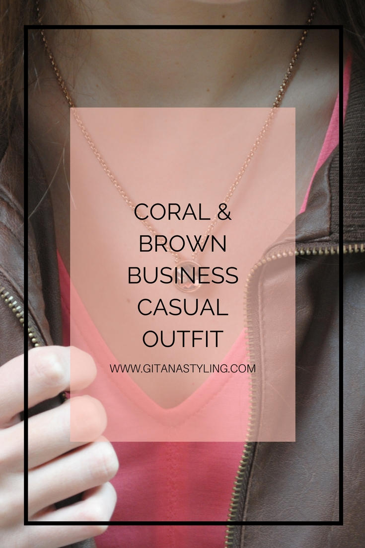 Coral and Brown Busines Casual Outfit PIN