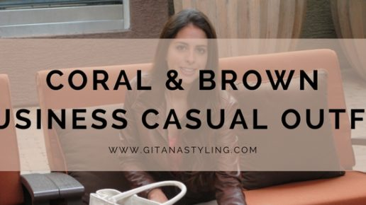Coral & Brown Business Casual Outfit
