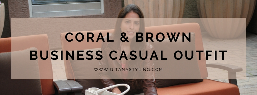 Coral and Brown Business Casual Outfit
