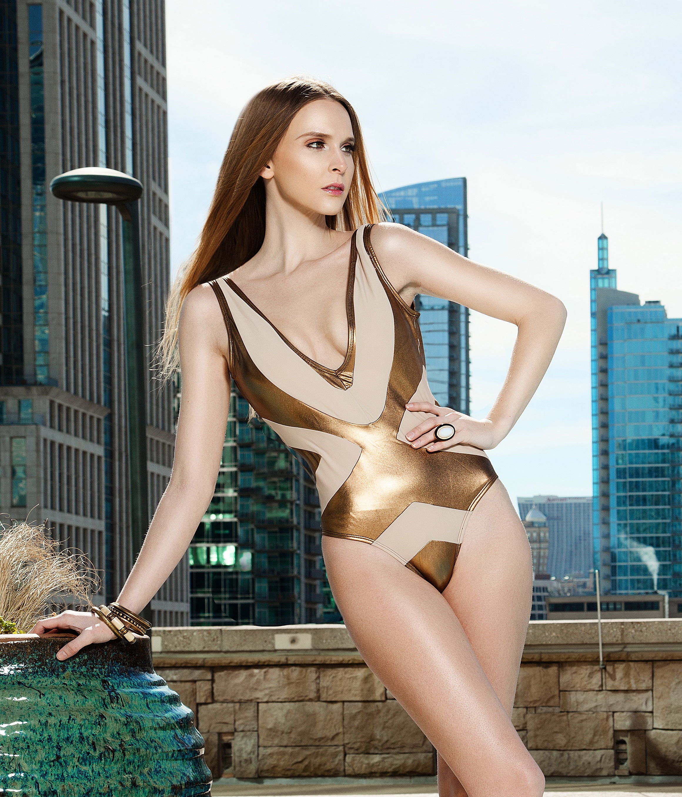 Shalaja Swimwear gold bathing suit