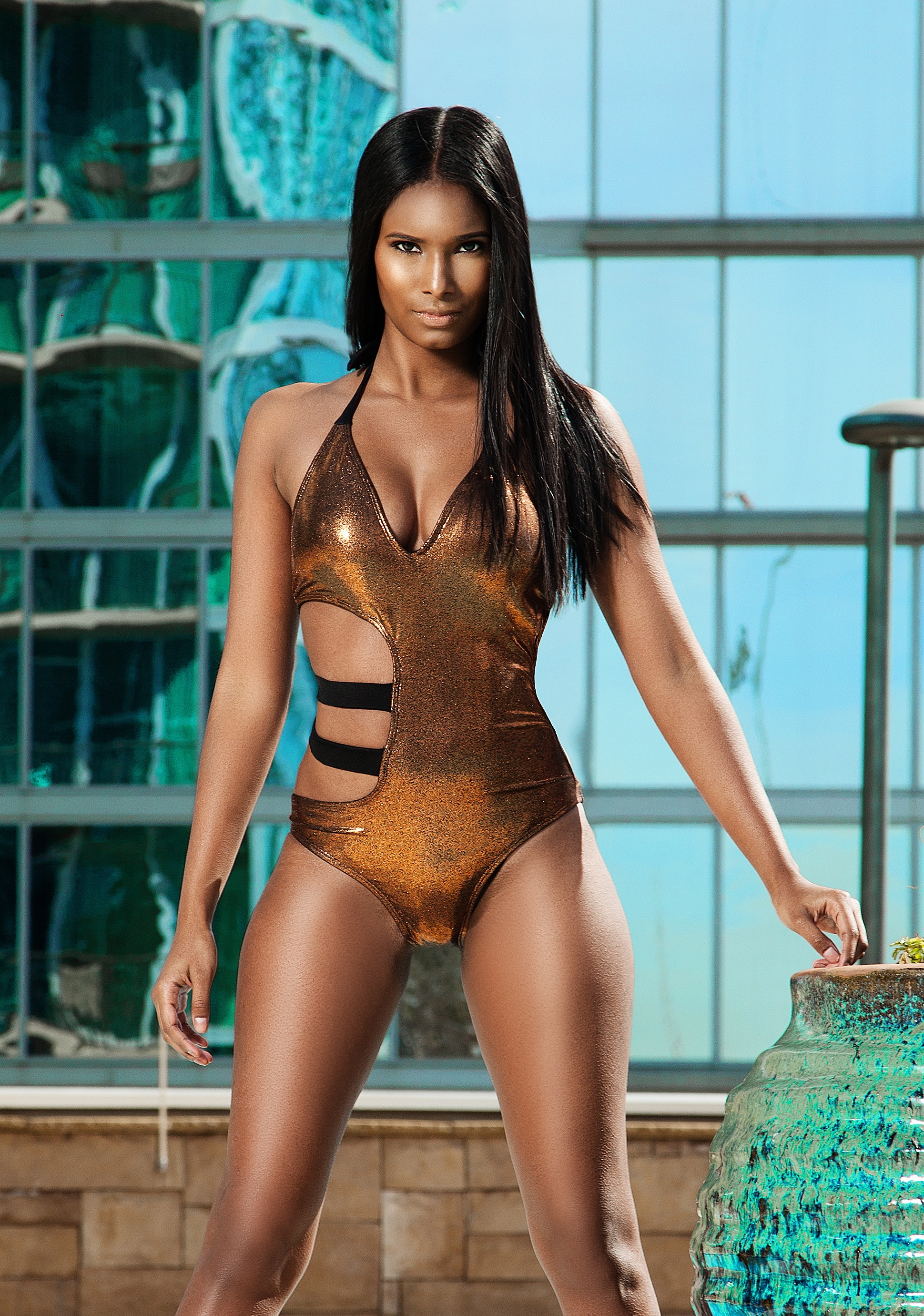 Shalaja Swimwea gold bathing suit