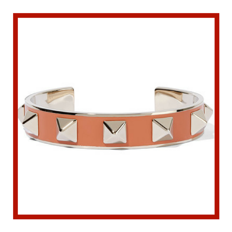 The Rocketed Pale Gold-Tone Enameled Cuff by Valentino
